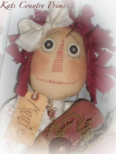 Primitive Raggedy Ann Annies Heart PAPER PATTERN by Crazyforelves, $11.00