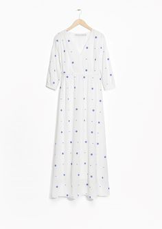 & Other Stories V-neck Maxi Dress in Off white