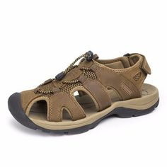 e85ede1842ae Big Size Men Leather Hollow Out Toe Protegendo Lace Up Hook Loop Beach  Sandals Mens Slippers