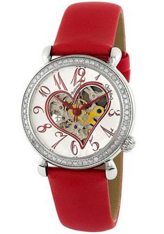 Stuhrling Original Automatic Skeleton Venus Silver Dial Red Leather - $419.99