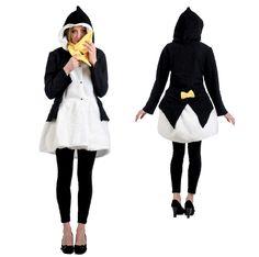 Kostüm Pinguin... kuschliger warmer Mantel mit Schal ... gesehen bei https://www.karneval-feuerwerk.de/ #Karneval #Fasching #Kostüme #Pinguin