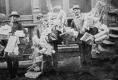 Delivering the Christmas Mail, 1910.  Job description: that would be early delivery man. (not post office, no uniform)