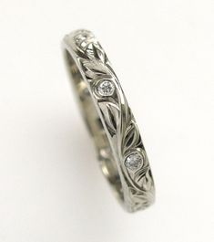 Diamond Hand Engraved Wedding or Anniversary Band with Vine and Leaf Hand Engraving on Etsy, $727.00