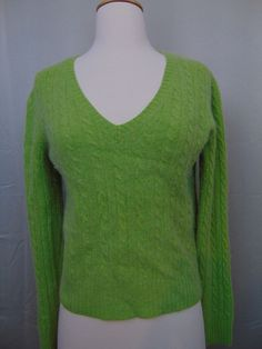 The Limited Wool/Cashmere Sweater Green V-Neck Long Sleeve Size Med #482 #TheLimited #VNeck