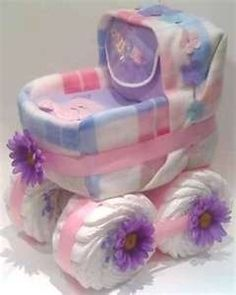 DIY baby carriage diaper gift so cute for baby shower!
