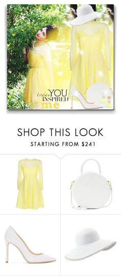 """""""Gently yellow"""" by elona-makavelli ❤ liked on Polyvore featuring RALPH, Sandro, Mansur Gavriel, Jimmy Choo, Eric Javits and David Aubrey"""