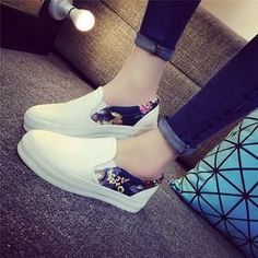 Women Flats Sneakers Ladies Slip On Platform Print Espadrilles Canvas Shoes Loafers