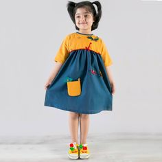 Buy Tiber Taber DIY Color Block Girl Dress with Felt Toys At Rs. 1900 20% off 100% Cotton COD available