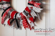 Valentine's Day Ribbon Wreath - doing this for the girl in black & pink for her bedroom.