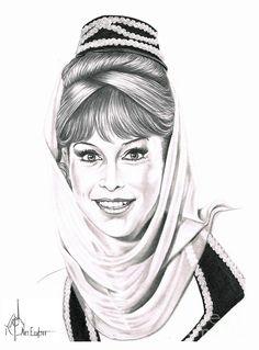 Barbara Eden in I Dream of Jeannie by Murphy Elliott ~ traditional pencil art