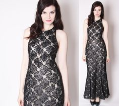 Vintage Black Illusion Lace Formal Mermaid Sequin by aiseirigh, $435.00