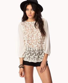 Embroidered Lace Front Top   FOREVER21 - 2039669702