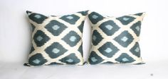 YUNER, Uzbek Ikat TWO Pillow Cases, Handmade  Pillow Case, Decorative  İkat Pillows-16x16 inch