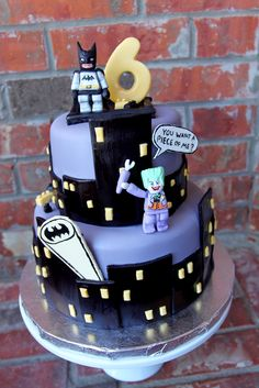 LEGO Batman Cake. How cute--and wouldn't be too difficult..