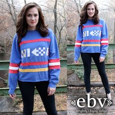 #Vintage 80's Blue Checkered Striped Sweatshirt S M by shopEBV