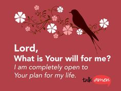 Lord, What is Your will for me? I am completely open to Your plan for my life.