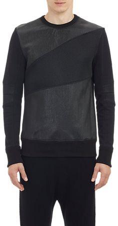 Helmut Lang Mesh & Faux-Leather Sweatshirt - Pullover - Barneys.com