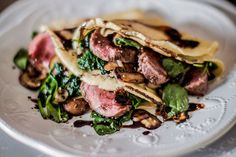 Sage Burnt Butter Crepes with Fillet and a Balsamic Glaze - Make delicious beef recipes easy, for any occasion Balsamic Glaze, Baby Spinach, Crepes, Beef Recipes, Easy Meals, Meat, Ethnic Recipes, Sage, Butter