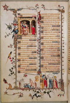 Belleville Breviary - jean pucelle- david before saul early 14th century manuscript illumination