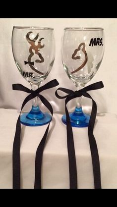 A personal favorite from my Etsy shop https://www.etsy.com/listing/272081776/camo-buck-doe-deer-wine-glasses-set-of