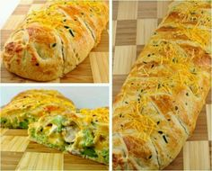Cooked chicken pieces, steamed broccoli, Cheddar cheese in a cresent roll.  Cook @ 375 35 min