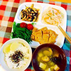生姜焼き、ひじき煮、なます、アサリのお味噌汁 - 116件のもぐもぐ - 母ごはん♪生姜焼き定食♪ by paraiba