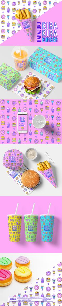 Harajuku Kira Kira Burger – Logo, Branding & Packaging on Behance - Bright, cute, colourful I think this design is highly memorable. Corporate Design, Graphic Design Branding, Identity Design, Graphic Design Illustration, Typography Design, Logo Branding, Logo Design, Lettering, Burger Branding