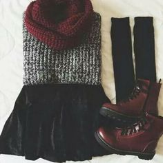 Gray sweater &&& Mini skirt &&& Black socks &&& Red boots
