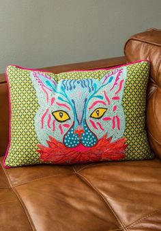 Coying with the Idea Pillow. Add some sass to your surroundings with this cat pillow from Karma Living, available for purchase in September! #multi #modcloth