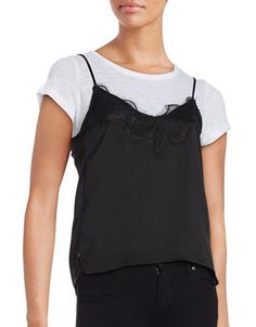 Honey Punch Lace Accented Layer Top Women's Black X-Small