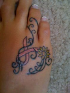pink ribbon tattoo designs ideas foot - Google Search
