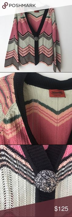 Missoni Chevron Cardigan Sweater M Gorgeous, classic Missoni chevron cardigan. This sweater screams Missoni! The designer cut will make you feel so Italian chic with the bell sleeves and the oversized center button. Beautiful colors of pink, black, and mint. Perfect for light spring layering. This is a must have classic for any wardrobe!   See photos for all measurements. Missoni Sweaters Cardigans