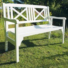Klappbare Gartenbank aus weiß lackiertem Akazienholz