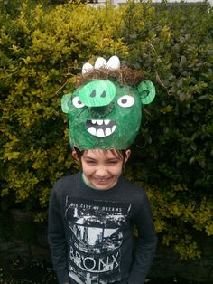 Bad piggie angry bird easter bonnet that my step son and i made