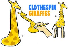 Clothespin Giraffe (scroll down: Donkey, Camel, etc)
