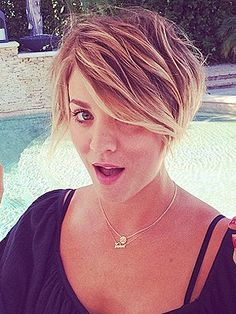 Kaley Cuoco's new style. So cute. Mine is close to this right now.