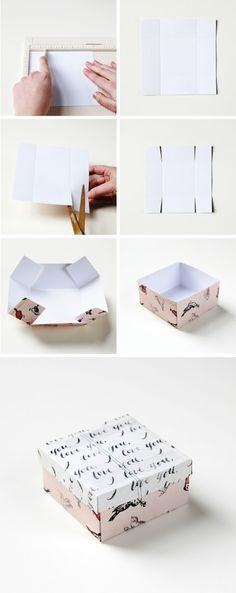 DIY: gift box with recycled Christmas cards! Any cards really. No matter that th. - DIY: gift box with recycled Christmas cards! Any cards really. No matter that the card was signed b - Easy Diy Gifts, Simple Gifts, Wrapping Ideas, Gift Wrapping, Papier Diy, Diy Simple, Diy Box, Diy Paper Box, Diys With Paper