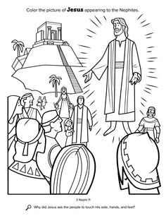 Color The Picture Of Jesus Appearing To Nephites Location In Scriptures 3 Nephi 11 Search Why Did Ask People Touch