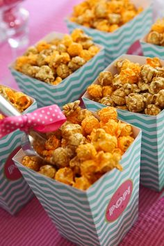 Single serving snacks in cute chevron boxes. Cute for popcorn bar!