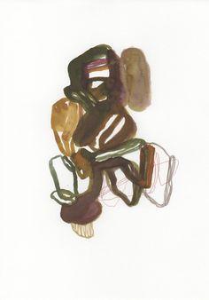 Abstract painting, ink and gouache on paper – Olivier Umecker Peinture abstraite, encre et gouache sur papier – 21 x 29,7 cm
