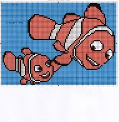 Contains many Nemo & Dory knitting charts Pixar, Animation, Knitting Charts, C2c, Dory, Plastic Canvas, Cross Stitch Embroidery, Pixel Art, Tigger