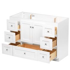 Simplicity by Strasser Shaker 48 in. W x 21 in. D x 34.5 in. H Vanity Cabinet Only in Satin White-01.116.2 - The Home Depot