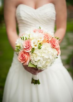 Amber and Trevor's Antique Shop Barn Wedding by Rennard Photography pink coral bouquet August Wedding Flowers, Coral Wedding Flowers, Wedding Flower Arrangements, Bridal Flowers, Wedding Colors, August Flowers, Coral Roses, Peach Wedding Bouquets, Peach Bouquet