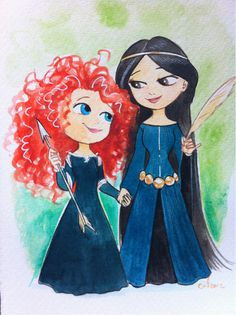 Fan Art of Merida and her mother Queen Elinor for fans of Brave.
