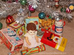 Aluminum Christmas Tree with Vintage Toys | Toys of Another Time | Flickr