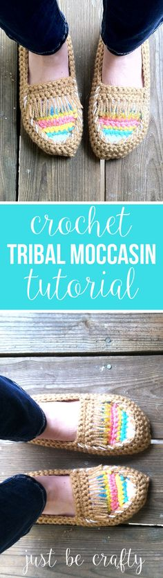 Crochet Tribal Moccasin Tutorial | Just Be Crafty