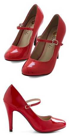 Patent Office Heel in Ruby | Mod Retro Vintage Heels