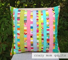 Crazy Mom Quilts:  What a fun pillow, definitely could make one from my scrap stash