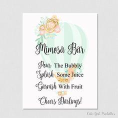 Mimosa Bar Sign - Bridal Shower Hot Air Balloon Mimosa Table - Drinks Sign Printable - Printable Bridal Shower - Mimosa Drinks - 0003G
