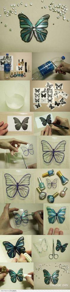 voordelig en leuke figuurtjes zelf maken en prachtig eindresultaat Gewone plastic weggooi fles met nagellak en glitters